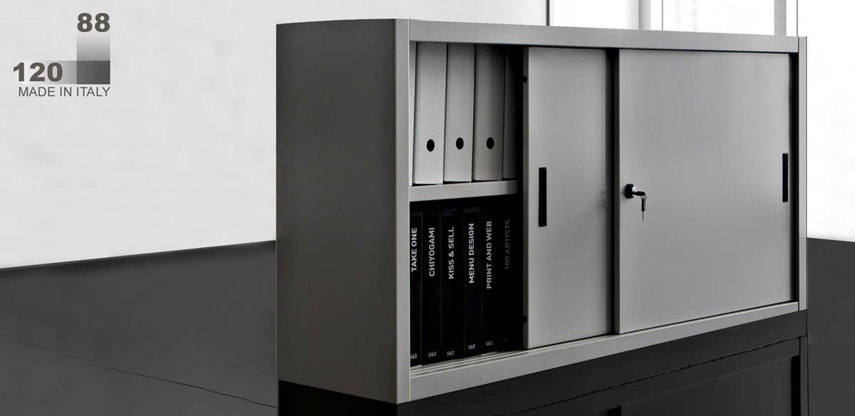 Armadio metallico ufficio ante scorrevoli cm. 120x45x88