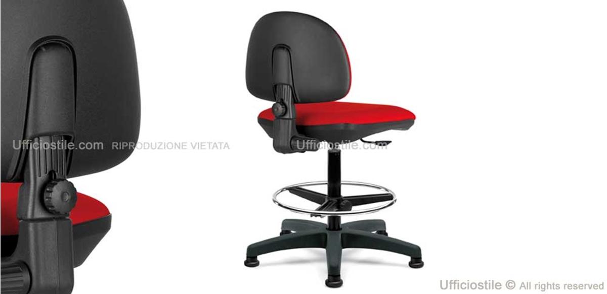 Sgabello Schienale Poggiapiedi Chevalier : Sgabello con schienale e poggiapiedi regolabile ufficiostile