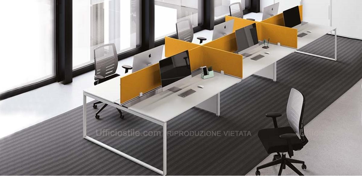 Mobili per ufficio bench 06 posti con schermi ignifughi for Color tabacco mobili
