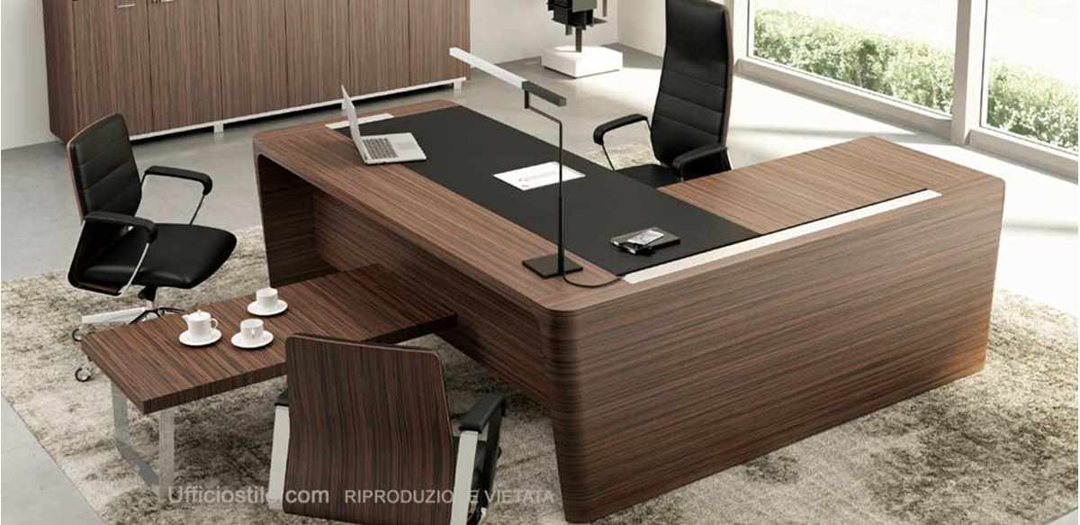 Scrivania direzionale con allungo e tavolino caff for Color tabacco mobili