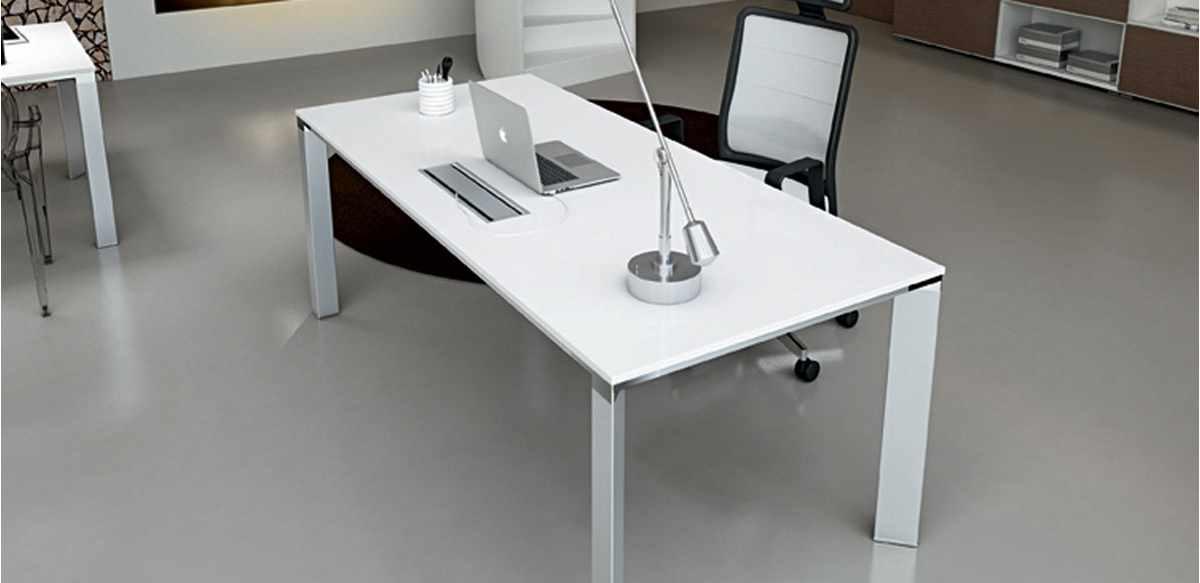 Mobili per ufficio scrivania ufficio laccato bianco cm 180 for Arredo ufficio bianco