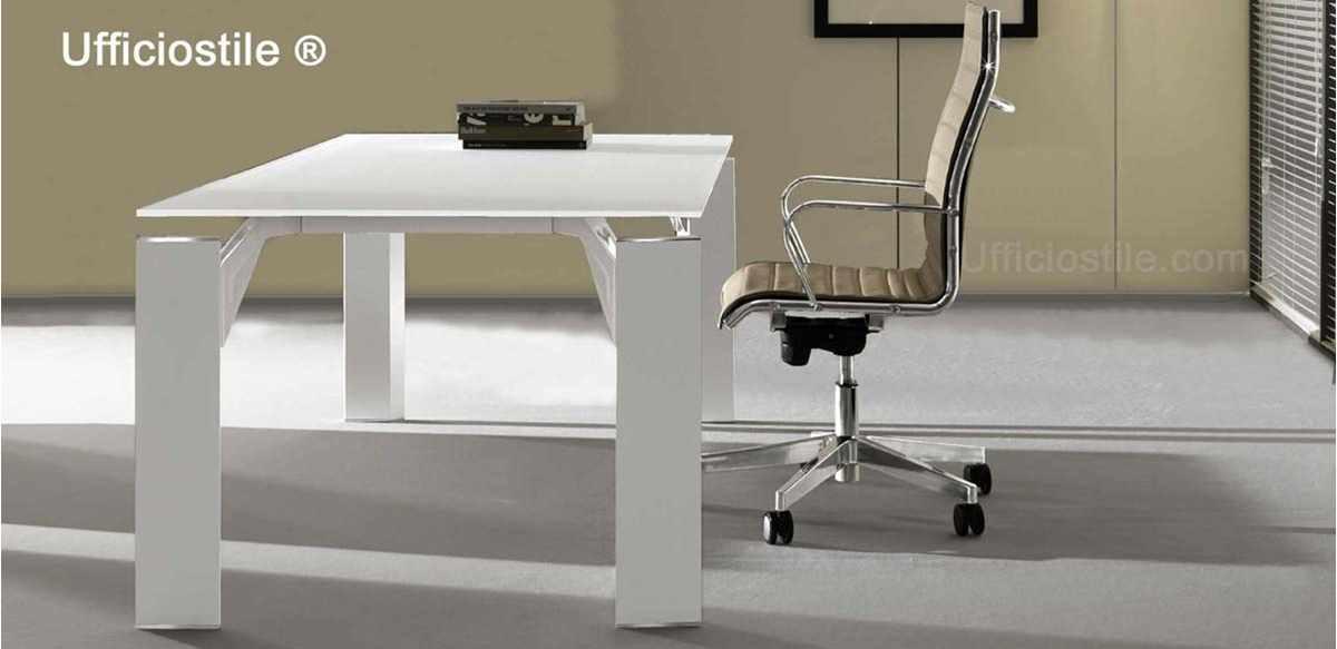 Mobili per ufficio scrivania vetro bianco cm 180 for Dimensioni mobili ufficio