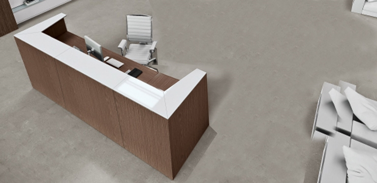 Bancone reception cm. 250 con top in laminato bianco lucido