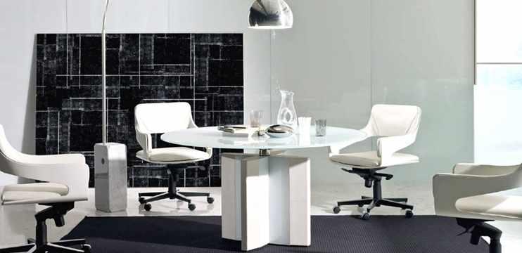 Tavolo ufficio tondo cm 120 in legno impiallacciato - Tavolo rotondo vetro diametro 120 ...